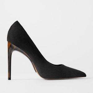 Zara Black Suede Tortoiseshell Stiletto Heels